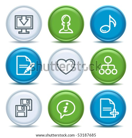 Icons with color buttons 10 - stock vector