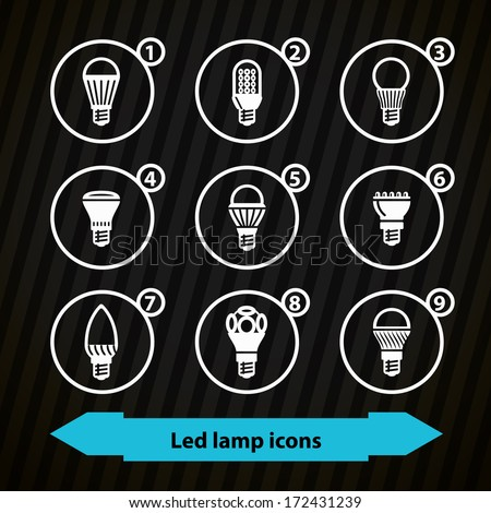 Icons with different types of LED lamps in minimalistic style. Dark set - stock vector