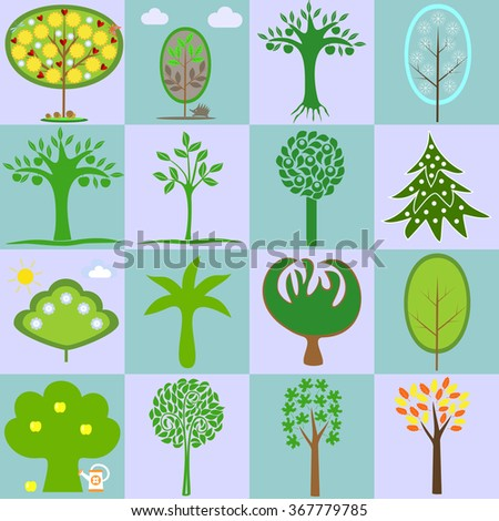 icons with different types of trees in different seasons - stock vector
