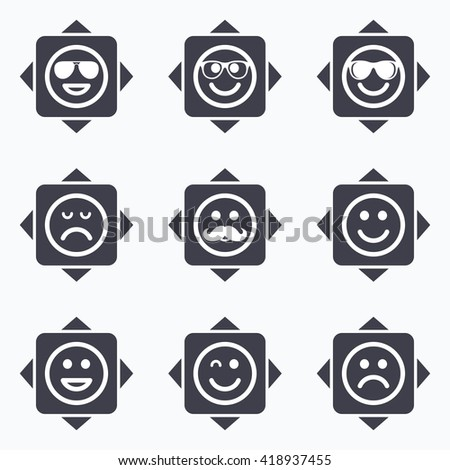 Icons with direction arrows. Smile icons. Happy, sad and wink faces signs. Sunglasses, mustache and laughing lol smiley symbols. Square buttons. - stock vector