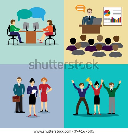 icons with flat design elements of customer service, client support, success business management, teamwork cooperation process. - stock vector