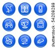 Icons with glossy buttons 21 - stock vector