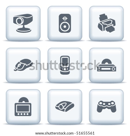 Icons with gray buttons 21 - stock vector