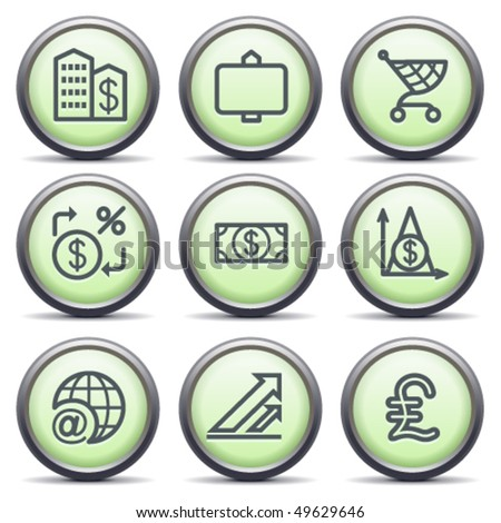 Icons with green buttons 23 - stock vector
