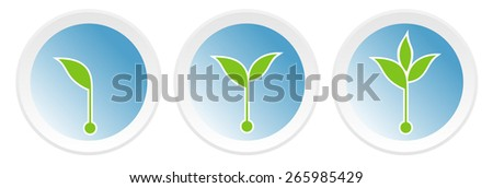Icons with  growing  sprouts for, banner, diagram, number options, web design, documents etc. - stock vector