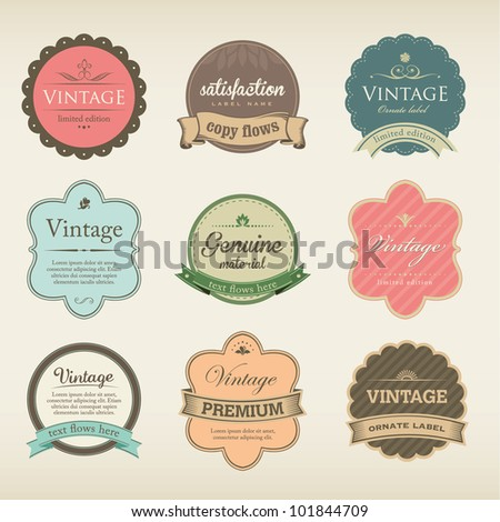 Icons with Labels in vintage and retro design - stock vector