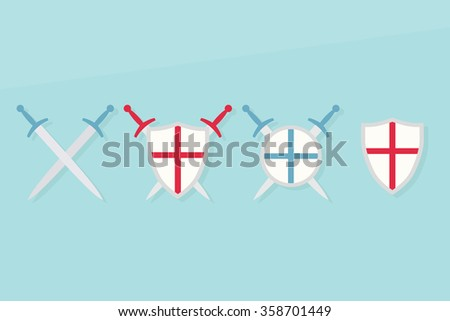 Icons with shields and swords - stock vector