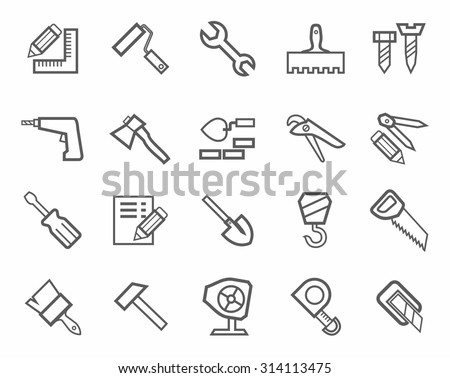 Icons, workers and construction tools, monochrome. Working and construction tools. Monochrome icons, figures on a white background. For websites, print and infographics.  - stock vector