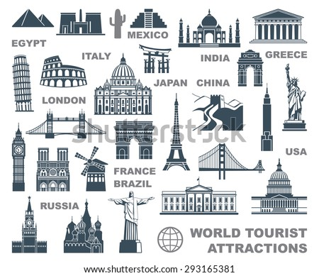 Icons world tourist attractions - stock vector