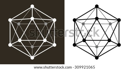 Icosaedro Wire Transparent Monochrome Shape Twenty Sides