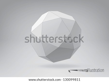 Icosidodecahedron for your graphic design. You can change colors - stock vector