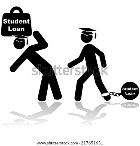 IcoVector i illustration showing a couple of students carrying a heavy burden of student loans - stock vector