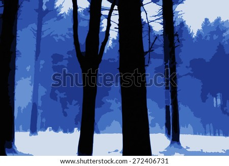 Icy Forest Scene - stock vector