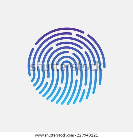 ID app icon. Fingerprint vector illustration - stock vector