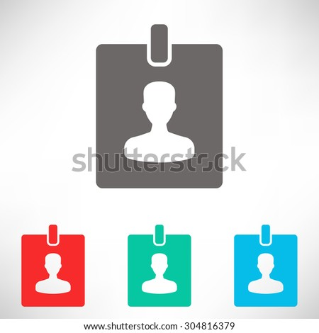ID badge icon. Set of varicolored icons. - stock vector