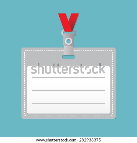 ID card or Lanyard with Tag Badge Holder. Vector illustration in flat style.