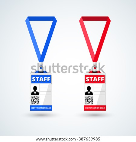id card staff with lanyard set. vector illustration - stock vector