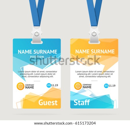 Id Card Template Plastic Badge Vertical Stock Vector 615173204 ...