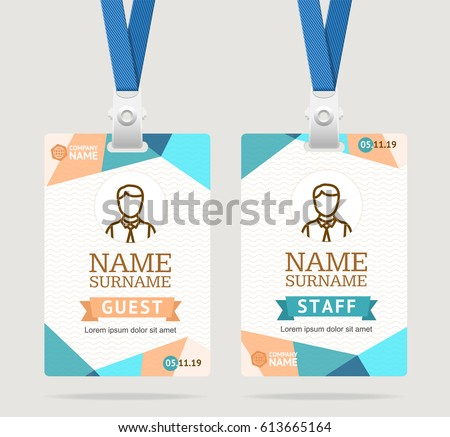 Id Card Template Plastic Badge Abstract Stock Photo Photo Vector