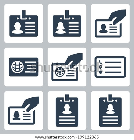 ID card vector icons set - stock vector
