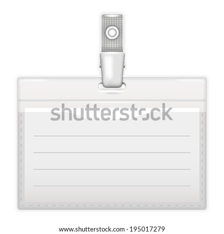 ID holder or card name over white. Realistic vector illustration. - stock vector
