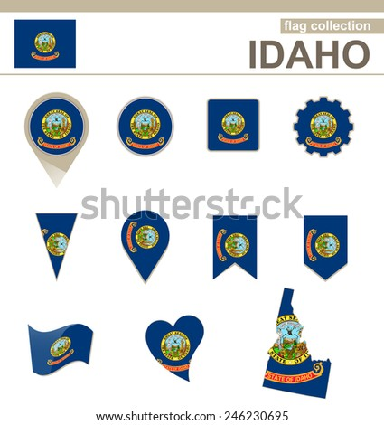 Idaho Flag Collection, USA State, 12 versions - stock vector