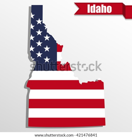Idaho  State map with US flag inside and ribbon - stock vector