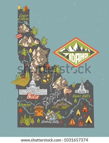 Idaho State Tourist Map Usa Travel Stock Vector 2018 1031657374