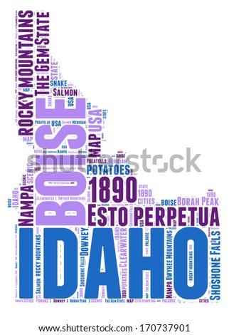 Idaho USA state map vector tag cloud illustration - stock vector