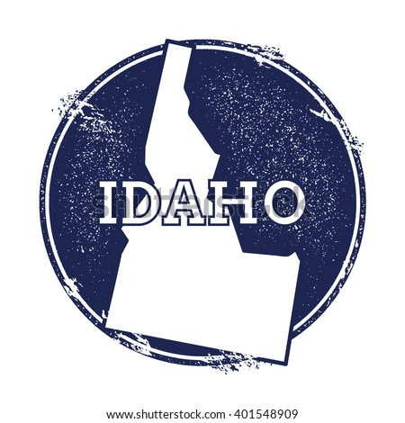 Idaho vector map. Grunge rubber stamp with the name and map of Idaho, vector illustration. Can be used as insignia, logotype, label, sticker or badge of USA state. - stock vector