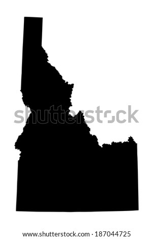 Idaho vector map isolated on white background. High detailed silhouette illustration. - stock vector
