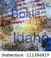 Idaho. Word Grunge collage on background. - stock photo