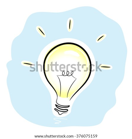 Idea, a hand drawn illustration of a metaphoric symbol of a fresh idea, a state of mind, or could be used as a mere illustration of a light bulb, all parts are editable. - stock vector