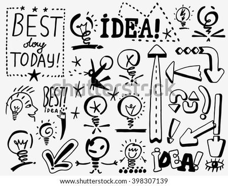 idea , arrows - doodles set - stock vector