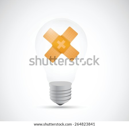 idea bulb band aid fix solution concept illustration design over white background - stock vector