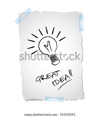 Idea business marketing strategy concept, drawing of a bulb on ripped paper, vector illustration - stock vector