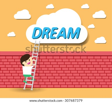 Idea Businessman climbing ladder to Success. Vector illustration. Businessman climbing to goal. Motivation concept to be successful. winner. finish. win. flat design.dream. brick Wall. money bag - stock vector