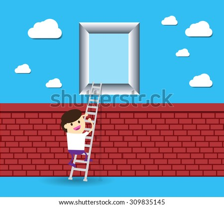 Idea Businessman climbing ladder to Success. Vector illustration. Businessman climbing to goal. Motivation concept to be successful. winner. finish. win. flat design.dream. brick Wall. window. door - stock vector