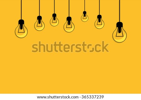 Idea concept background. Glowing yellow light bulb as inspiration concept. Light sign ideas. Vector light bulb icon. Bulb light idea. Creative idea bulb shape. Bulb icons with idea. New idea on yellow - stock vector
