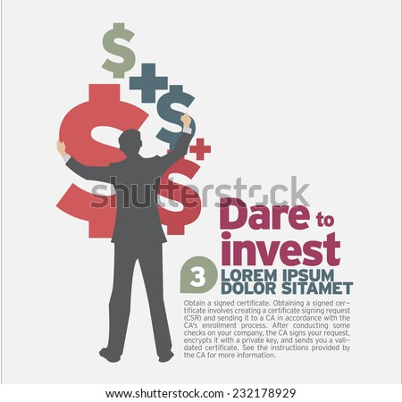 Idea concept design Dare to invest. - stock vector