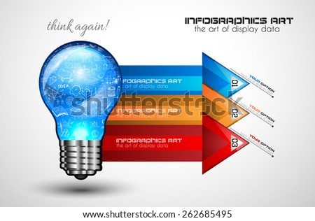 Idea Concept Layout for Brainstorming and Infographic background with graphs sketches. A lot of hand drawn infographics and related design elements are included plus 3D glossy lamp. - stock vector