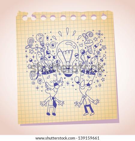 idea concept note paper cartoon sketch - stock vector