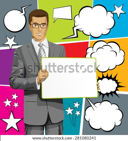 Idea concept. Vector Business man holding empty write board in his hands, with speech and thought bubbles