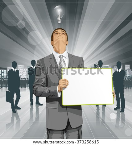 Idea concept. Vector Business man holding empty write board, looking up, looking for idea,  - stock vector