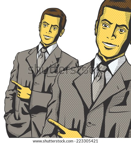 Idea concept. Vector business man show something with his finger - stock vector