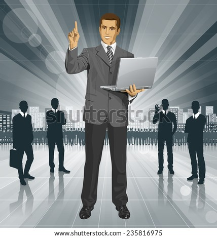 Idea concept. Vector business man shows something with his finger - stock vector