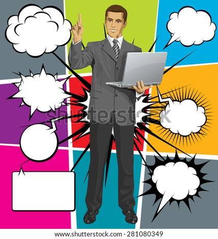 Idea concept. Vector business man shows something with his finger, with speech and thought bubbles - stock vector