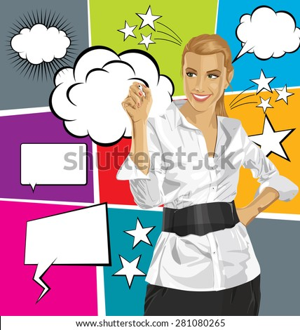 Idea concept. Vector Business woman writing something, with speech and thought bubbles - stock vector