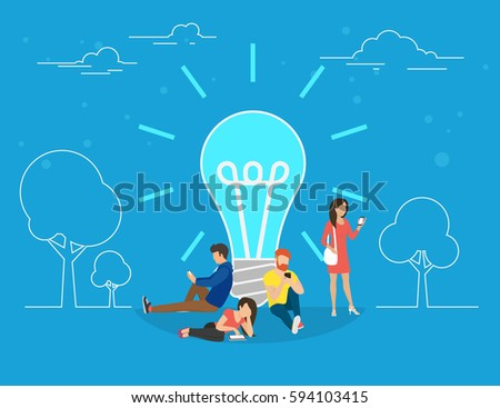 Idea concept vector illustration of young people standing near idea light bulb. Flat creative people using devices such as smartphone and digital tablet. Business header for startup or project