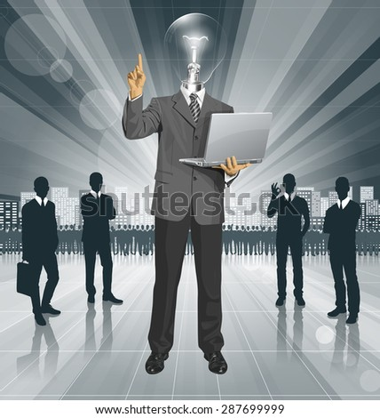 Idea concept. Vector lamp head business man shows something with his finger - stock vector
